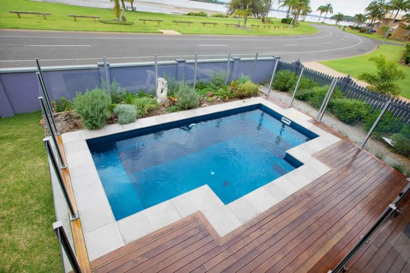 Fibreglass Pool Masterbuilt Range with Decking. Nirvana in Dark Turquoise